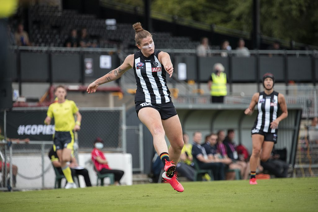 Brianna Davey starred for the Pies at Victoria Park in AFLW round two. Image: Megan Brewer