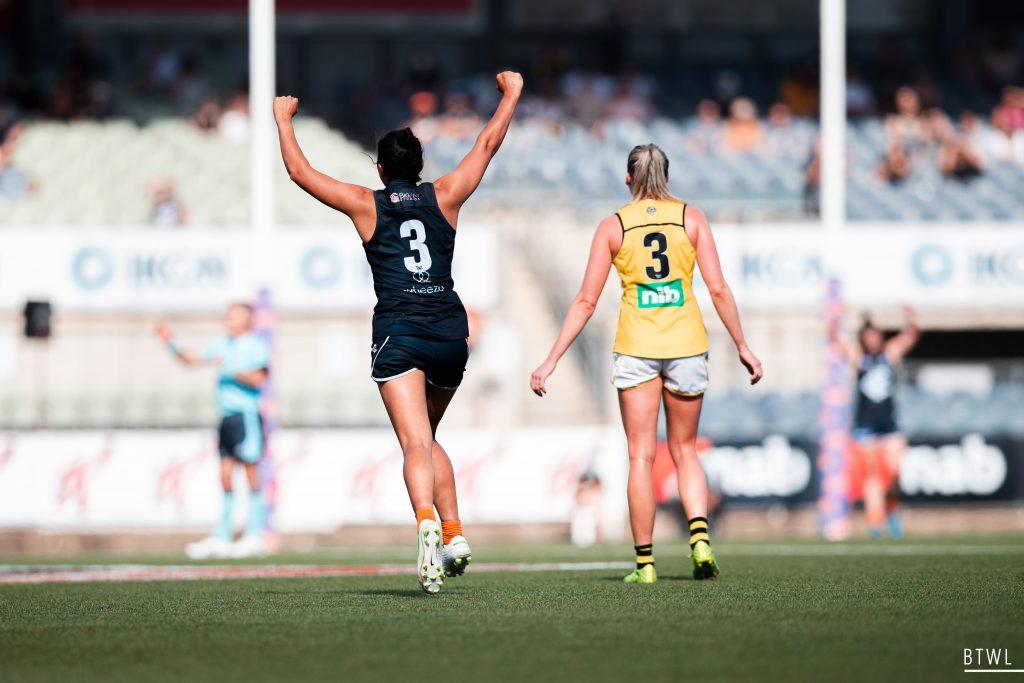 Darcy Vescio celebrates. Image: Rachel Bach / By The White Line AFLW Round Four