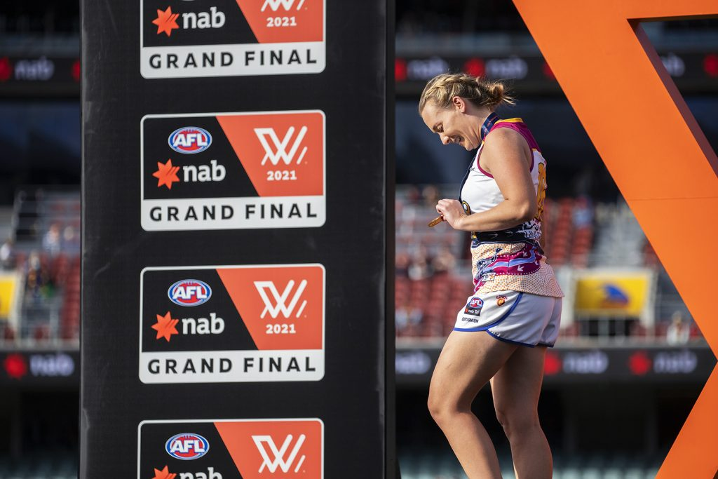 Lauren Arnell went out on a high, winning a premiership with the Brisbane Lions. AFLW 2021 Trade Wrap Image: Megan Brewer