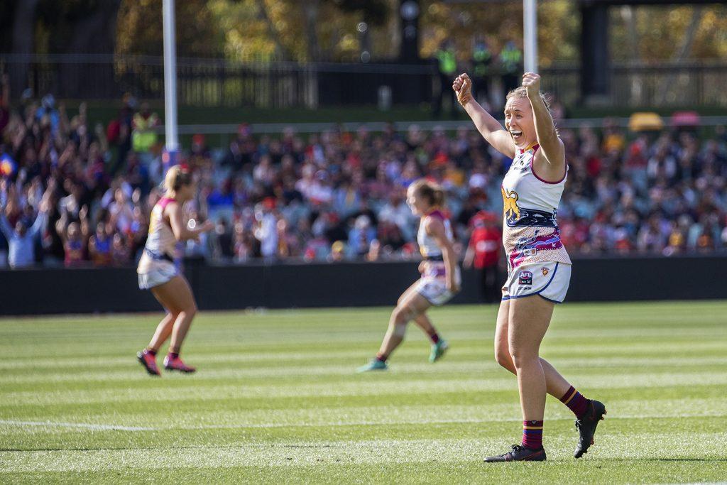 Lauren Arnell celebrates the Lions' premiership in her final game of AFLW. AFLW Grand Final Image: Megan Brewer