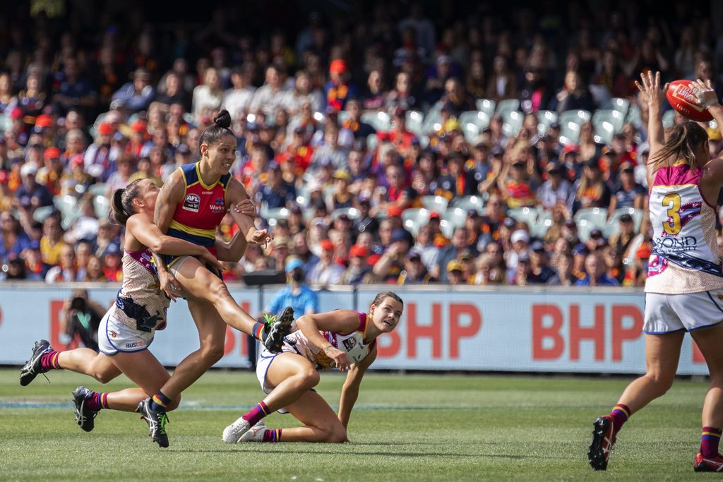 Stevie-Lee Thompson threatened to break the game open for Adelaide in the AFLW Grand Final. Image: Megan Brewer