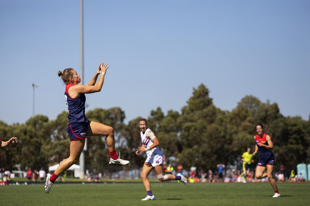Maddison Gay kicked the sealer for the Demons. AFLW Qualifying Finals Image: Megan Brewer