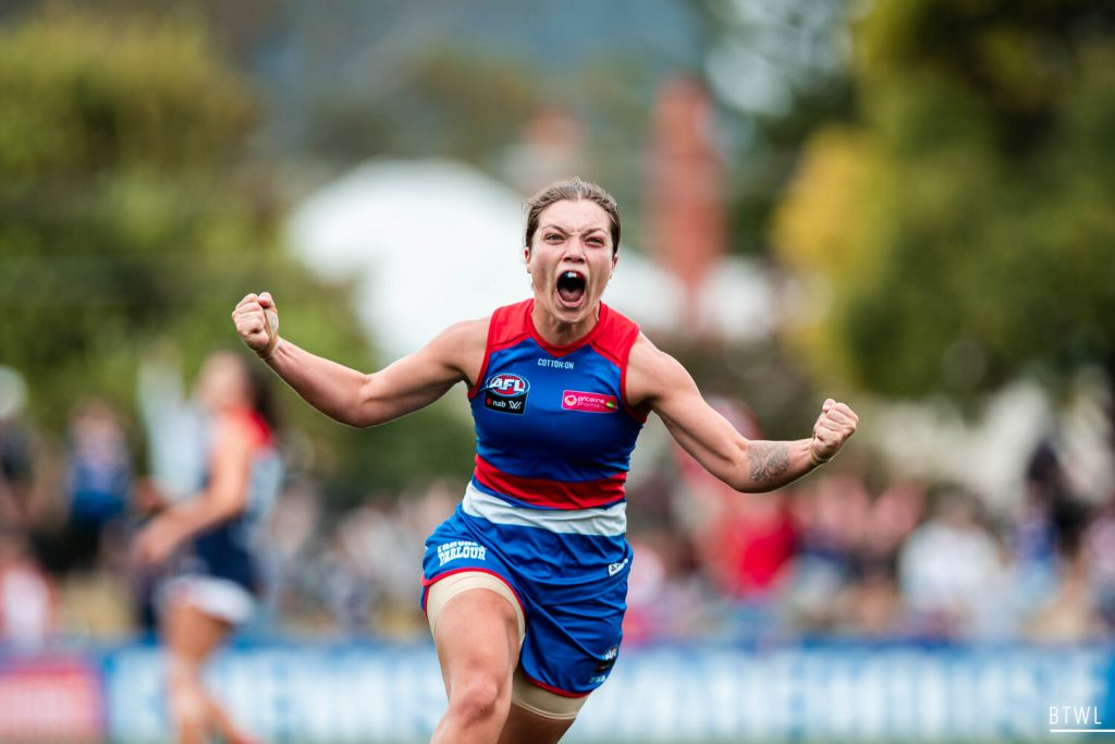Ellie Blackburn is one of the inaugural Bulldogs who played in that 2017 game. Image: Rachel Bach / By The White Line