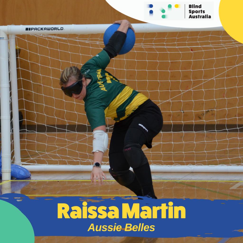 Image is of Aussie Belle, Raissa Martin, throwing a goalball.