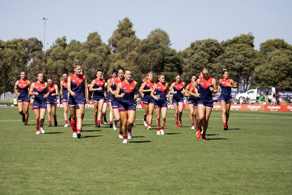 The Melbourne Demons had their most successful AFLW season in 2021, reaching a preliminary final. Image: Megan Brewer