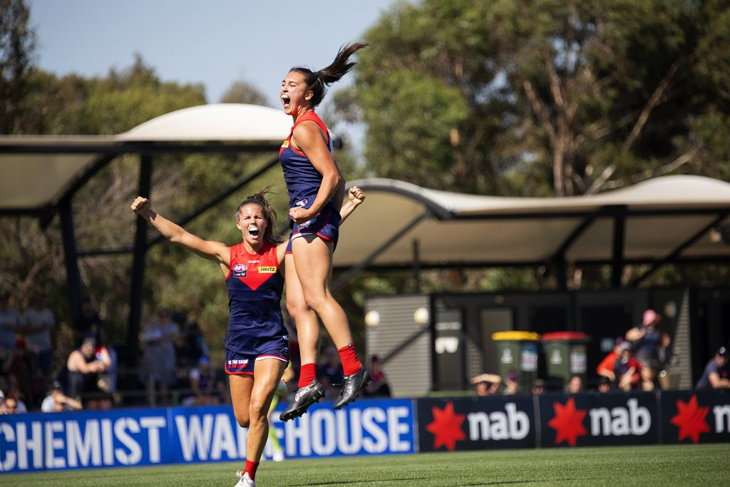 Brenna Tarrant kicked her first AFLW goal in Melbourne's qualifying final win over Fremantle this year. Image: Megan Brewer