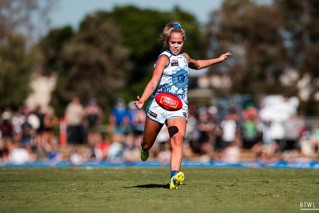 Kaitlyn Ashmore is one of ten Kangaroos who signed on for two years in last year's sign on period. Image: Rachel Bach / By The White Line