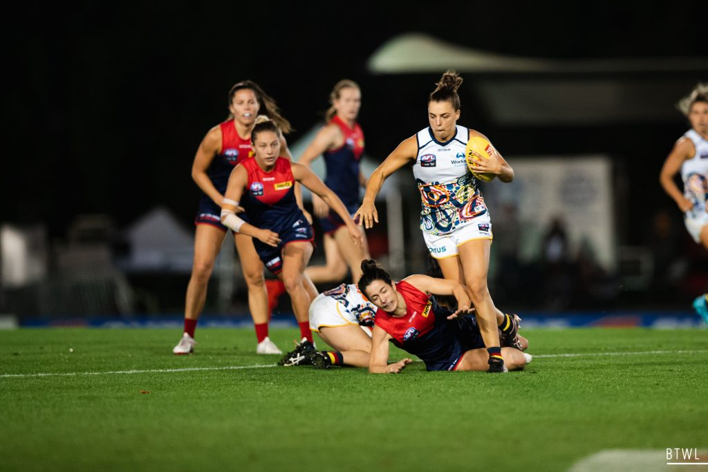 Ebony Marinoff has signed on for a further two years at the Crows, after the Saints pursued her signature. AFLW 2021 Trade Wrap Image: Rachel Bach / By The White Line