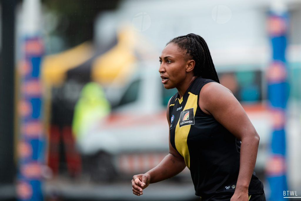Sabrina Frederick has joined Collingwood. AFLW 2021 Trade Wrap Image: Rachel Bach / By The White Line