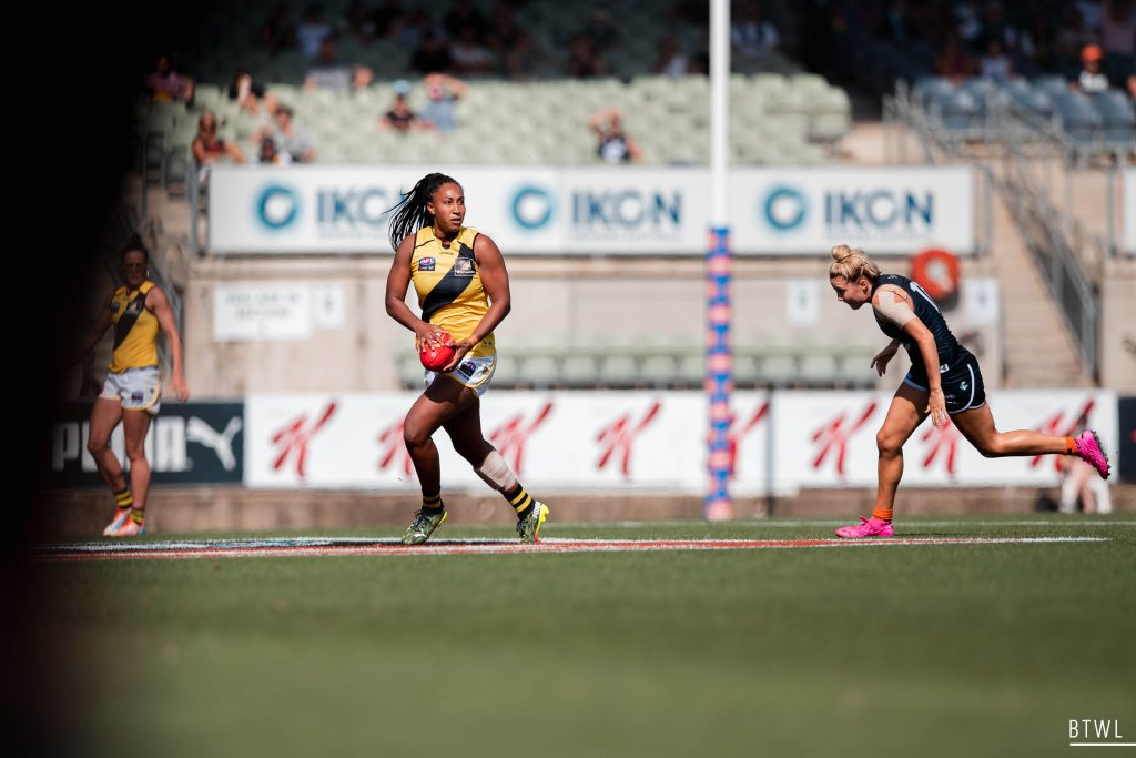 Sabrina Frederick's move to the Pies was the first trade to go through. AFLW 2021 Trade Wrap Image: Rachel Bach / By The White Line