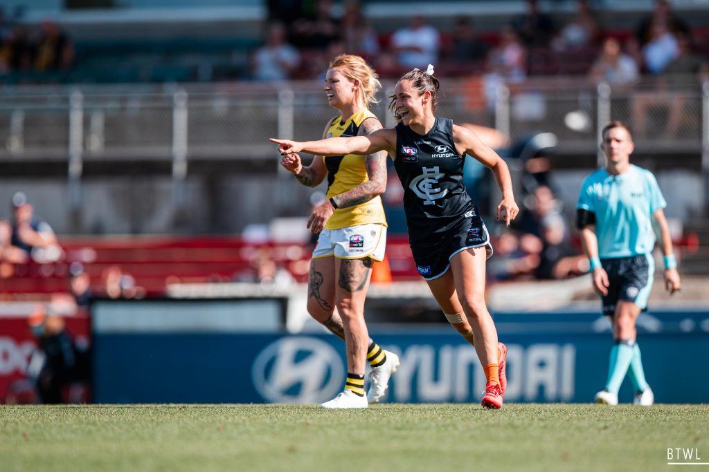 Nicola Stevens has signed on at the Blues until 2023. AFLW 2021 Trade Wrap Image: Rachel Bach / By The White Line