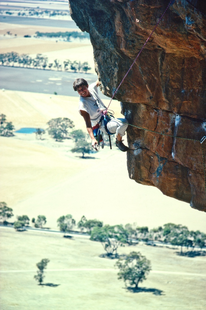 Louise Shepherd climbs Mt Arapiles. Image: Glenn Tempest