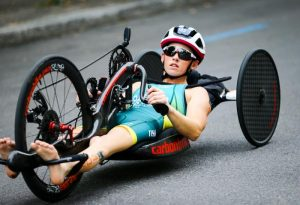 Lauren Parker's ambition remained the same, just in a different category of sport after a life-altering cycling accident. Sourced: World Triathlon