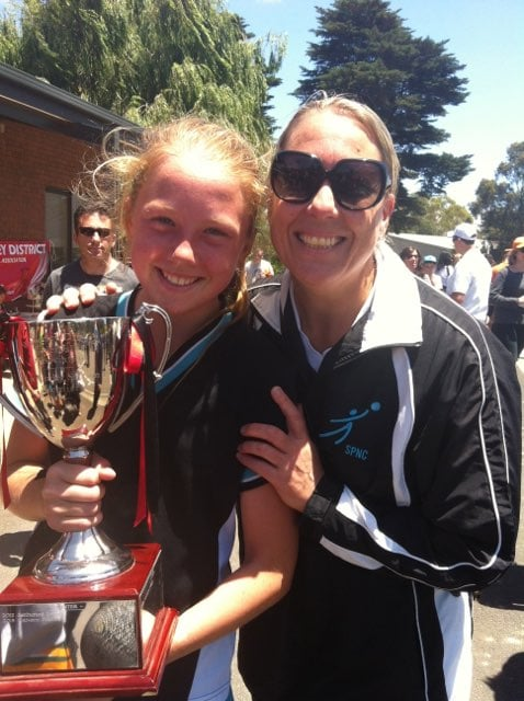 """Shelley O'Donnell coached her daughter Hannah Mundy for many years as a junior. """"Growing up mum was my coach and all my team-mates would always brag about Shelley O'Donnell being their coach, but I didn't!"""" Image: Supplied."""